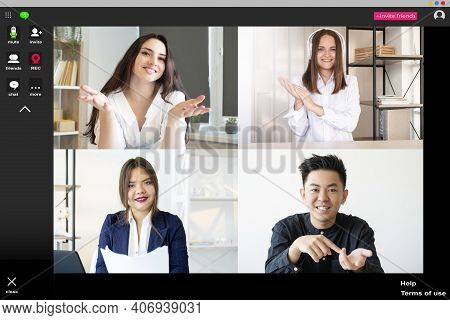 Web Call. Video Conference. Group Telecommuting. Business Webcast. Enthusiastic Diverse Multiethnic