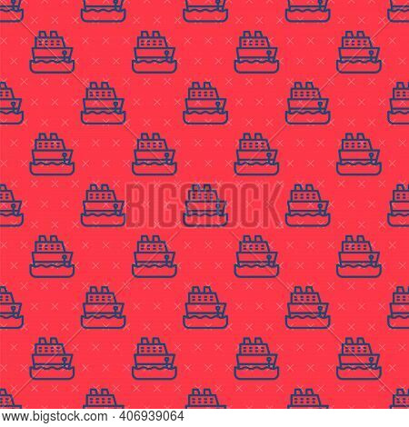 Blue Line Cruise Ship Icon Isolated Seamless Pattern On Red Background. Travel Tourism Nautical Tran