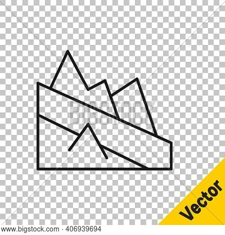 Black Line Mountain Descent Icon Isolated On Transparent Background. Symbol Of Victory Or Success Co