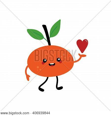 Cute Cartoon Smiling Tangerine, Clementine, Mandarin Character Holding In Hand Red Heart. Love, Appr