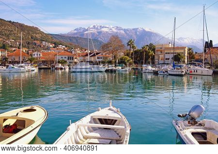 Beautiful Winter Mediterranean Landscape. Montenegro, Tivat City. View Of Marina Kalimanj
