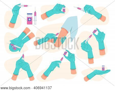 Coronavirus Vaccination Set, Doctors Hands Holding And Giving Injections Flat Cartoon Style. Vector