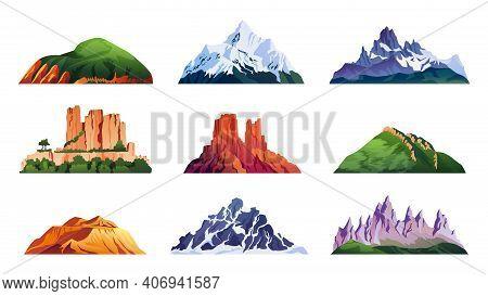 Mountain Ridges Set Isolated Iceberg Tops And Hills, Cartoon Rocky Landscapes. Vector Snowy Alpine C