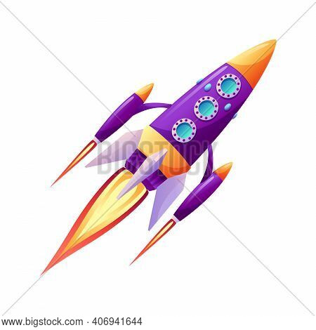Space Ship Launch Rocket With Fire Trace At Startup Isolated Cartoon Icon. Vector Spacecraft Liftoff