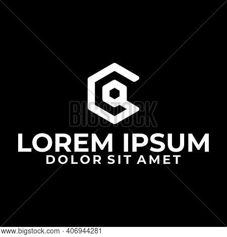 Initial letter CQ or QC logo template geometric hexagonal line art illustration in flat design monogram symbol