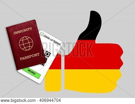 Immunity passport and test result for COVID-19 on flag of Germany Certificate for people who have had coronavirus or made vaccine. Vaccination passport against covid-19 that allows you travel