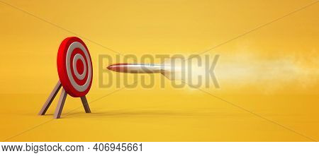 Rocket Missle To A Red Target .  Target Audience Concept . Powerful Merketing Strategy . This Is A 3