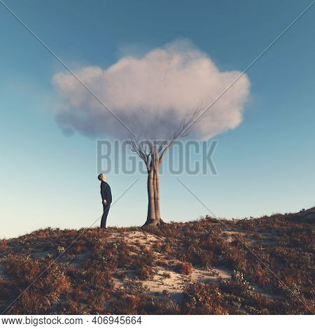 Man Looks Up To A Tree With A Cloud Instead Of Bush . Self Growth And Development Concept . This Is