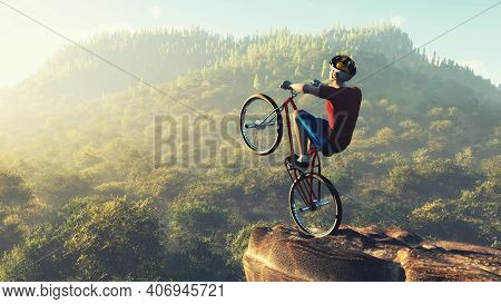 Byciclist On Top Of A Mountain Rock . This Is A 3d Render Illustration .