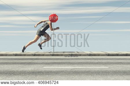 Man Running And A Stop Sign . Don't Stop Concept . Never Give Up On Dreams And Keep Forward . This I