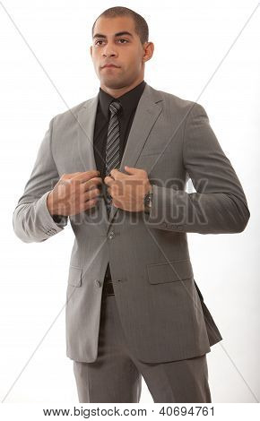 Young african american black businessman in suit