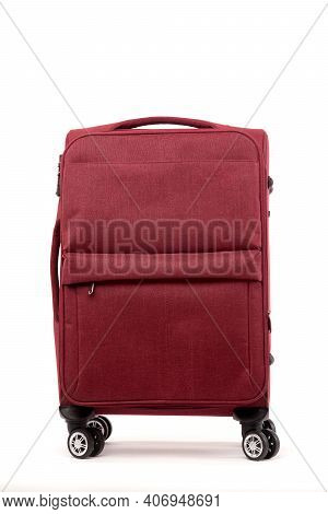 Travel Red Suitcase Isolated On White Background.