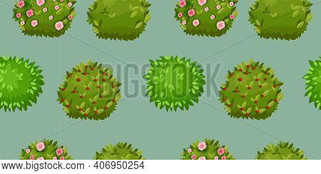 Green Blooming Bush Vector Gardening Seamless Pattern With Blossom, Leaves, Berries. Forest, Nature