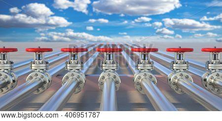 Industrial Pipelines And Valves On Blue Sky Background, Banner. 3D Illustration.
