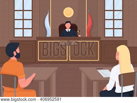 Courthouse Flat Color Vector Illustration. Judge Listening Lawyer Who Protects Customer. Justice Wor