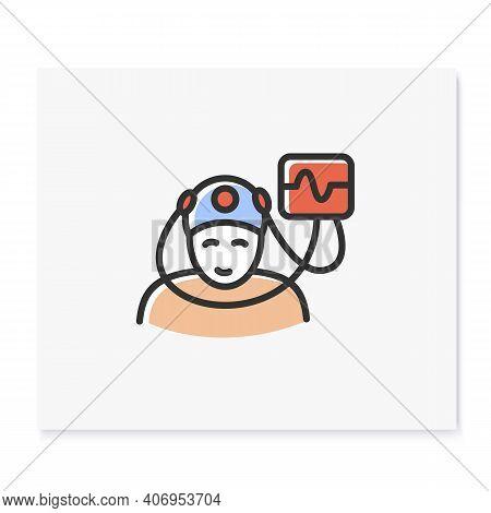 Electroencephalogram Color Icon. Sleep Study. Brain, Sleep Examination. Sleep Disorder. Healthy Slee