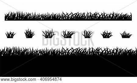 Grass Vector Silhouette Pattern For Use In Concept Ad, Banner And Poster Design. Simple Flat Grass S