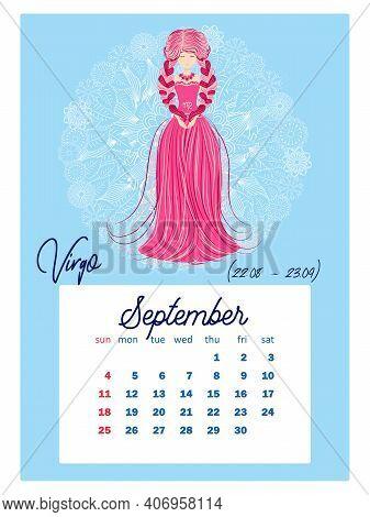 Horoscope Vertical Calendar For 2022, Week Starts On Sunday. A4 Format. Zodiac Signs: Capricorn, Aqu