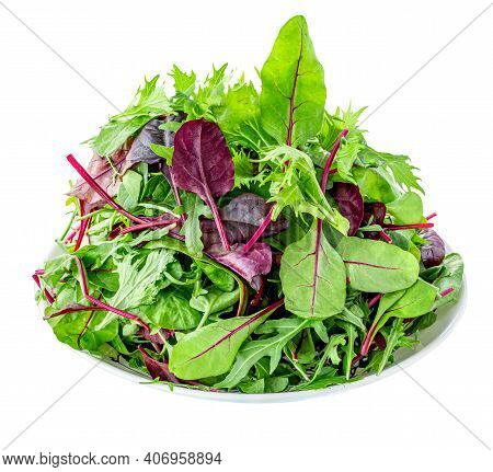 Salad Leaves On A Plate Isolated On White Background. Mix Fresh Leaves Of Arugula, Lettuce And  Spin