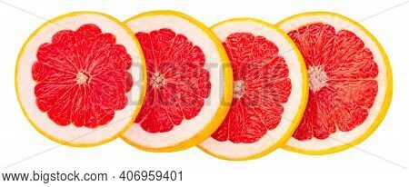 Four Grapefruit Circle Slices  Isolated  On White Background, Top View.  Pink Grapefruit Flat Lay.