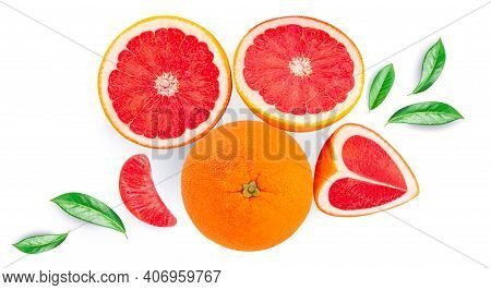 Creative Layout Made Of Grapefruits And Green Leaves Isolated On White Background. Pink Grapefruit S