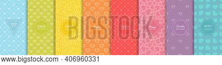 Hearts Seamless Patterns. Valentine's Day Collection. Set Of Bright Colorful Background Swatches Wit