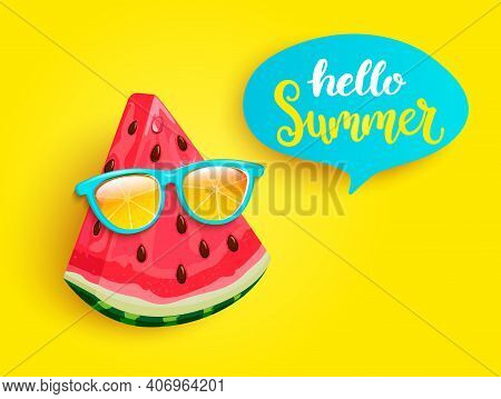 Hipster Watermelon In Orange Sunglasses Greeting Summer On Yellow Background. Welcome Banner For Hot