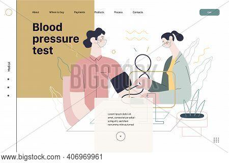 Medical Tests Template - Blood Pressure Test - Modern Flat Vector Concept Digital Illustration Of Bl