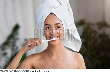 Dental Hygiene, Prevent Tooth Decay Or Caries. Cute Pretty Smiling Millennial African American Lady