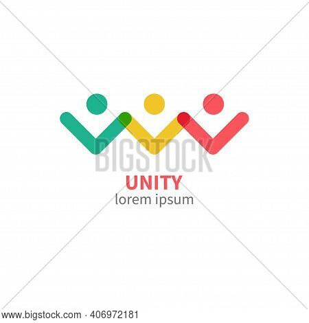Unity Logo. People Holding Hands. Community Icon Isolated. Social Relationships Symbol. Vector Illus