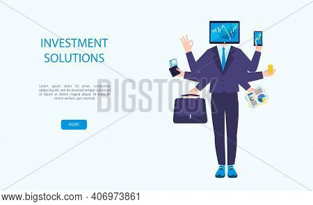 Vector Illustration Of Virtual Business Assistant In Different Types Of Investments. A Man With Six