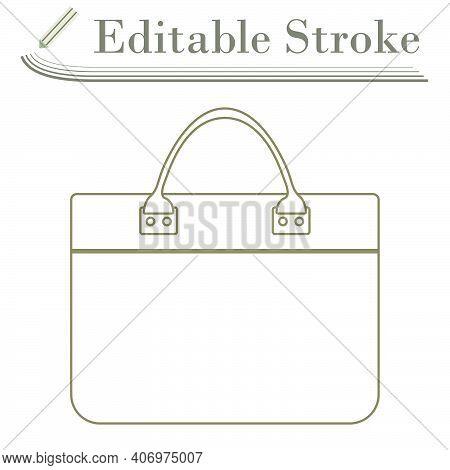 Business Woman Briefcase Icon. Editable Stroke Simple Design. Vector Illustration.
