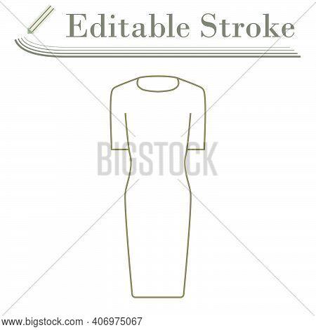 Business Woman Dress Icon. Editable Stroke Simple Design. Vector Illustration.