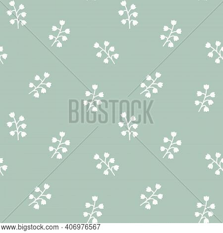 Seamless Pattern With Lily Of The Valley. Floral Background. For Decor And Design Of Fabric, Paper,