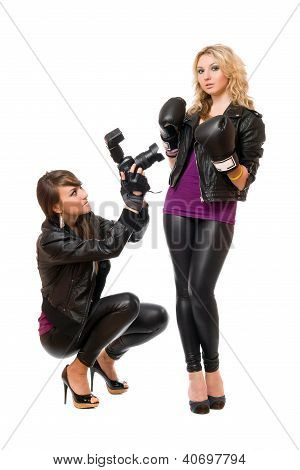 Blond And Brunette With The Camera