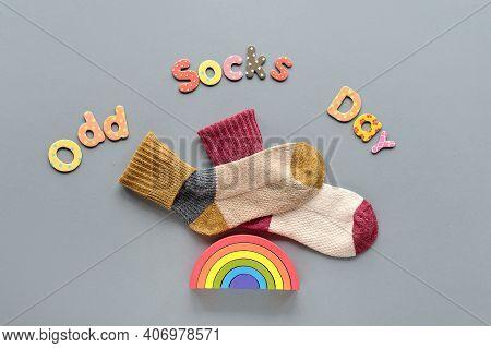 Odd Socks Day. Pair Of Mismatched School Socks. Wooden Rainbow. Social Initiative Against Bullying I