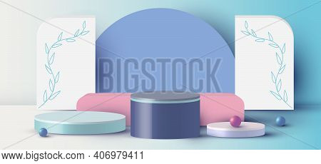3d Rendering With Podium Cylinder, Sphere, Rectangle Abstract Minimal Scene With Geometric Platform