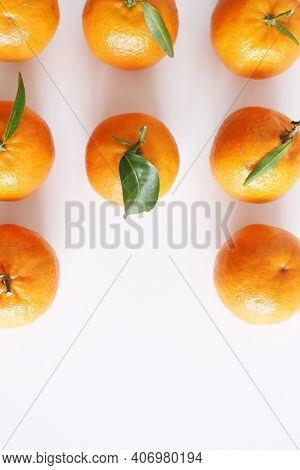 Mandarin, Tangerine, Clementine With Leaves Isolated On White Background. Top View Natural Food. Fru