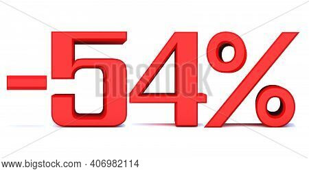 Minus 54 Percent Off 3d Sign On White Background, Special Offer 54% Discount Tag, Sale Up To 54 Perc
