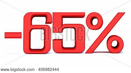 Minus 65 Percent Off 3d Sign On White Background, Special Offer 65% Discount Tag, Sale Up To 65 Perc
