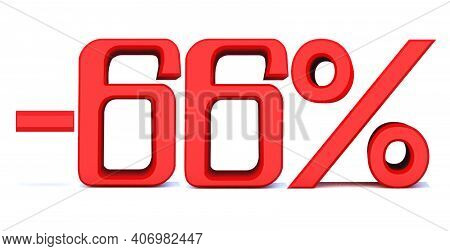 Minus 66 Percent Off 3d Sign On White Background, Special Offer 66% Discount Tag, Sale Up To 66 Perc