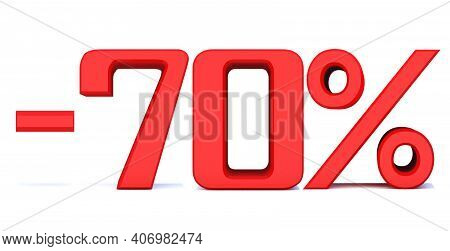 Minus 70 Percent Off 3d Sign On White Background, Special Offer 70% Discount Tag, Sale Up To 70 Perc