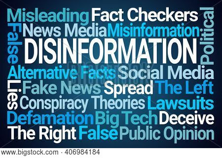 Disinformation Word Cloud on Blue Background