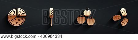 Set Pizza, Fried Sausage, Apple And Chicken Nuggets Icon With Long Shadow. Vector