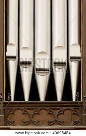 Antique silver organ pipes