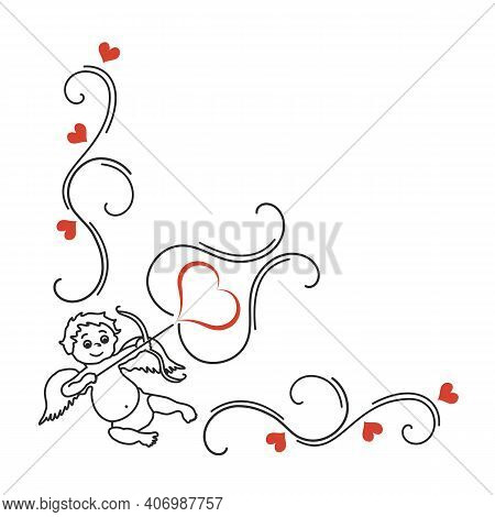 Cupid, Heart And Curls, Valentine's Day Ornament. Hand-drawn Vector. Cupid, A Symbol Of Love And Rom