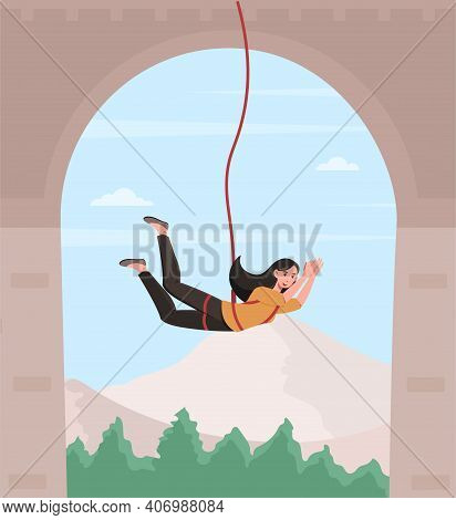 Happy Female Character Is Bungee Jumping From A Bridge. Young Fearless Woman Is Enjoing Bungee Jumpi