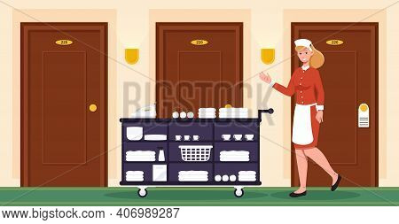 Female Hotel Staff In Uniform Cleaning Hotel Rooms. Female Housekeeper Is Providing Room Service At