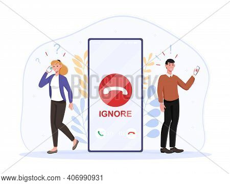 Male Character Is Ignoring Incoming Call Trying To Avoid Unpleasant Conversation With Girlfriend. Wo