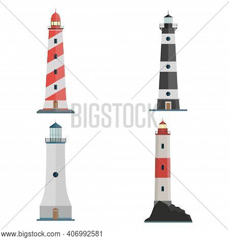 Set Of Lighthouse Icon. Red, Black, White Lighthouses. Searchlight Towers For Maritime Navigation Gu